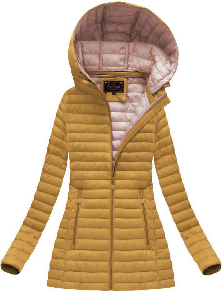 Удлиненная стёганая осенне-весенняя куртка с капюшоном Жёлтый