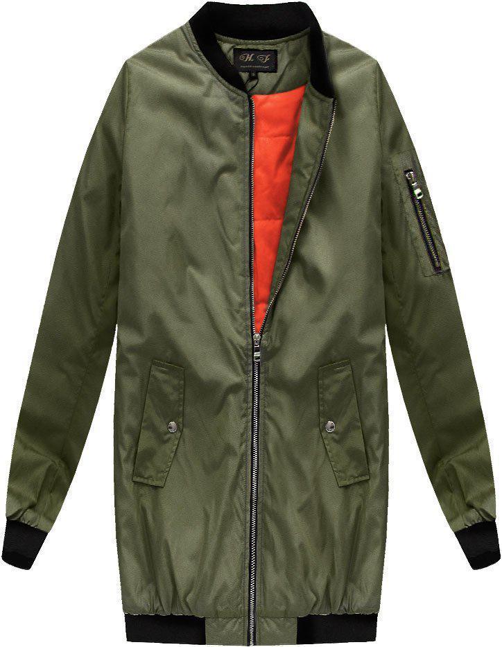 Длинная осенне-весенняя  куртка бомбер Хаки