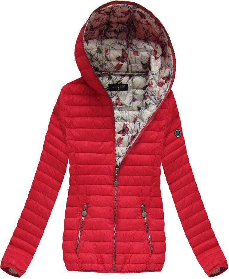 Женская осенне-весенняя  куртка с капюшоном Красный