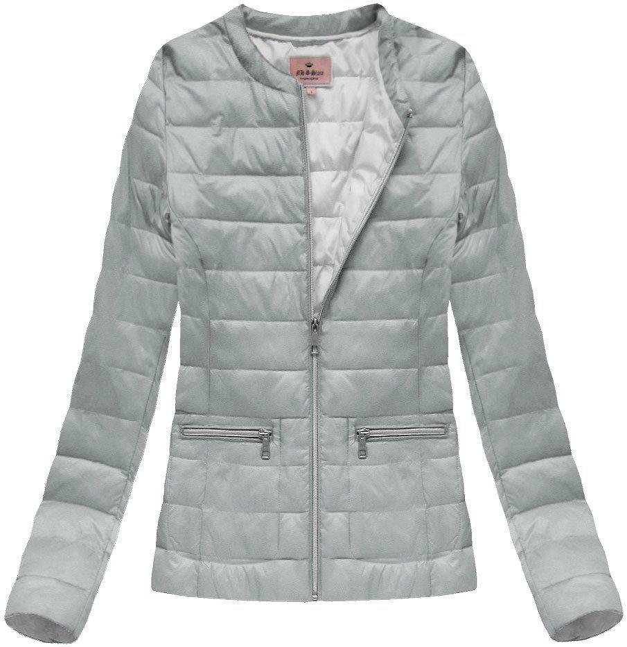 Женская демисезонная стеганая куртка  без капюшона большой размер Серый