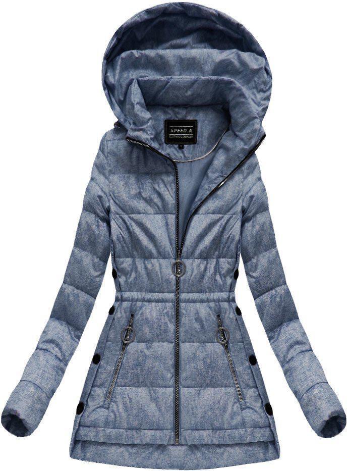 Демисезонная стёганая осенне-весенняя куртка р36-52 Синий
