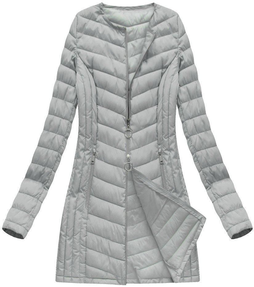 Куртка демисезонная длинная стёганая  р46-54 Серый