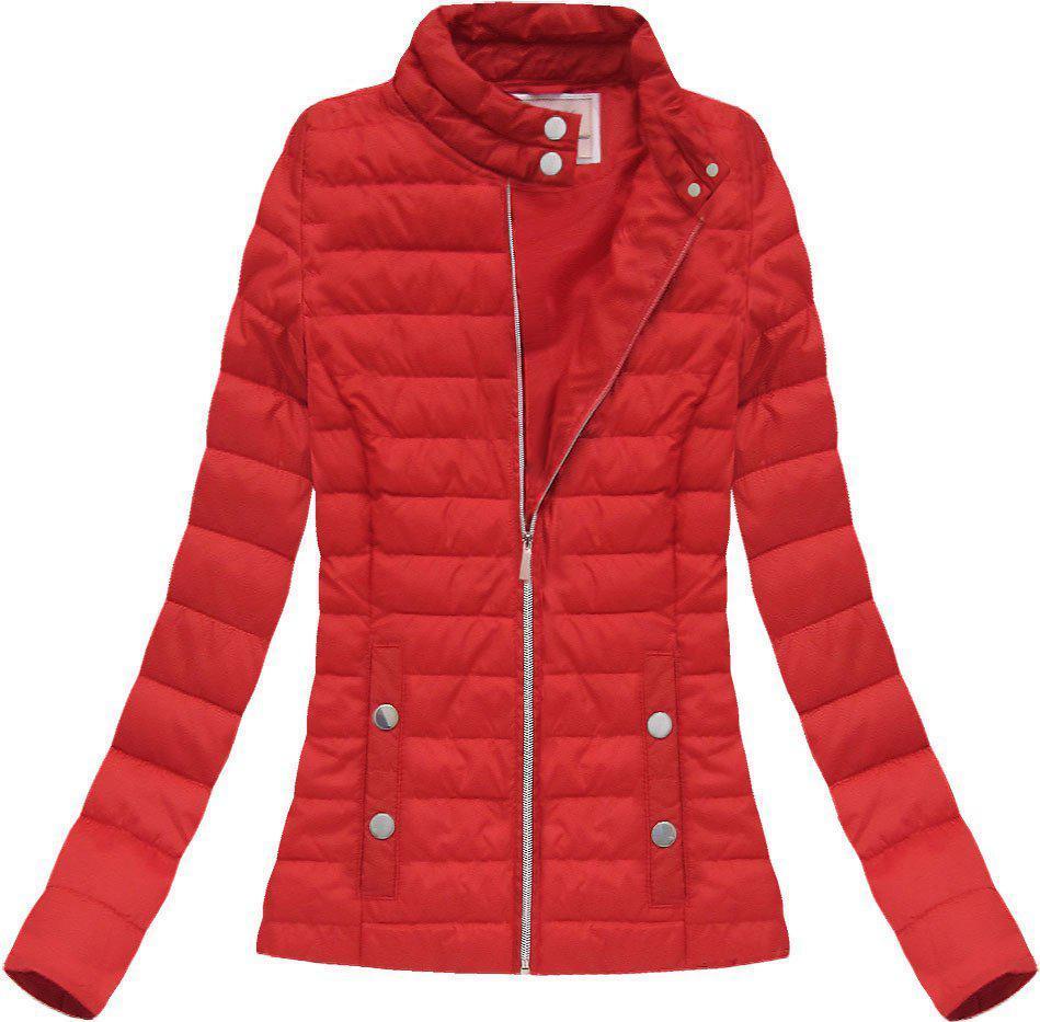 Женская демисезонная  куртка  без капюшона стёганая Красный