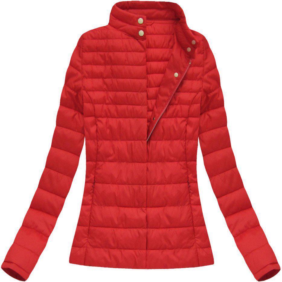 Женская демисезонная  куртка  без капюшона стёганая №1 Красный