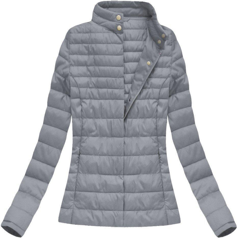 Женская демисезонная  куртка  без капюшона стёганая №1 Серый