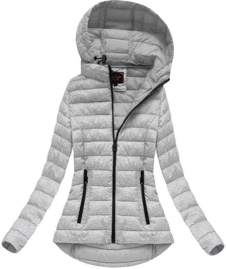 Женская меланжевая  стёганая куртка  деми №1 Серый