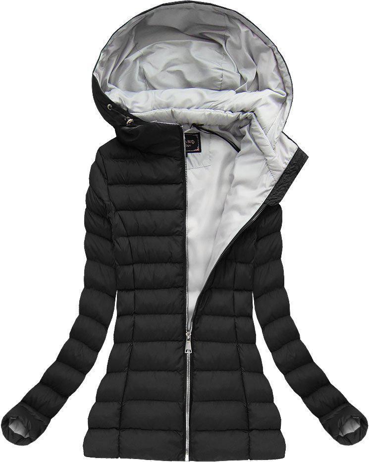 Женская  стёганая куртка  деми  с капюшоном Чёрный