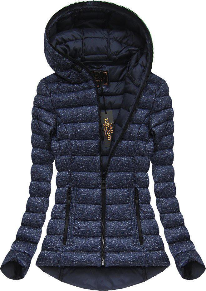 Женская темная  меланжевая  стёганая куртка  Синий