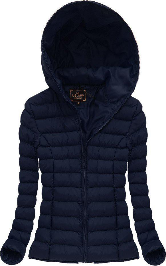 Женская цветная стёганая куртка с капюшоном Тёмно-синий