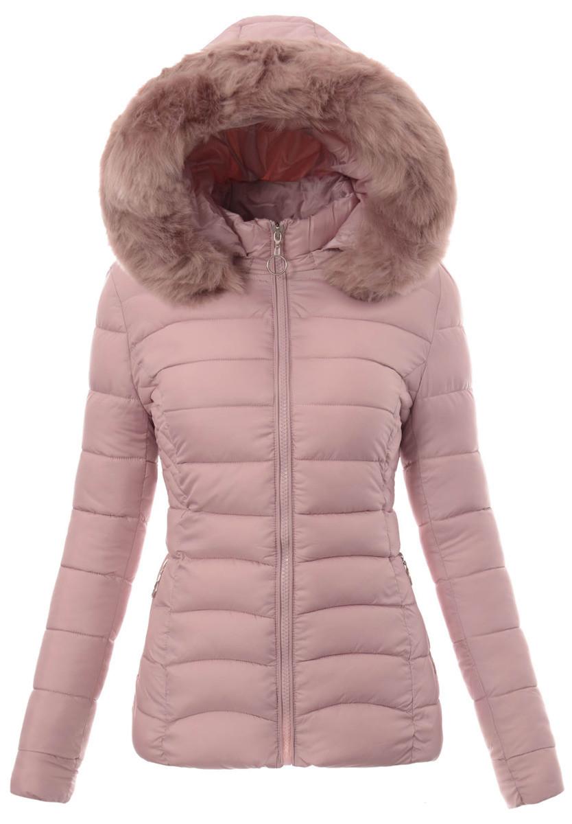 Женская зимняя стёганая куртка  с капюшоном Розовый