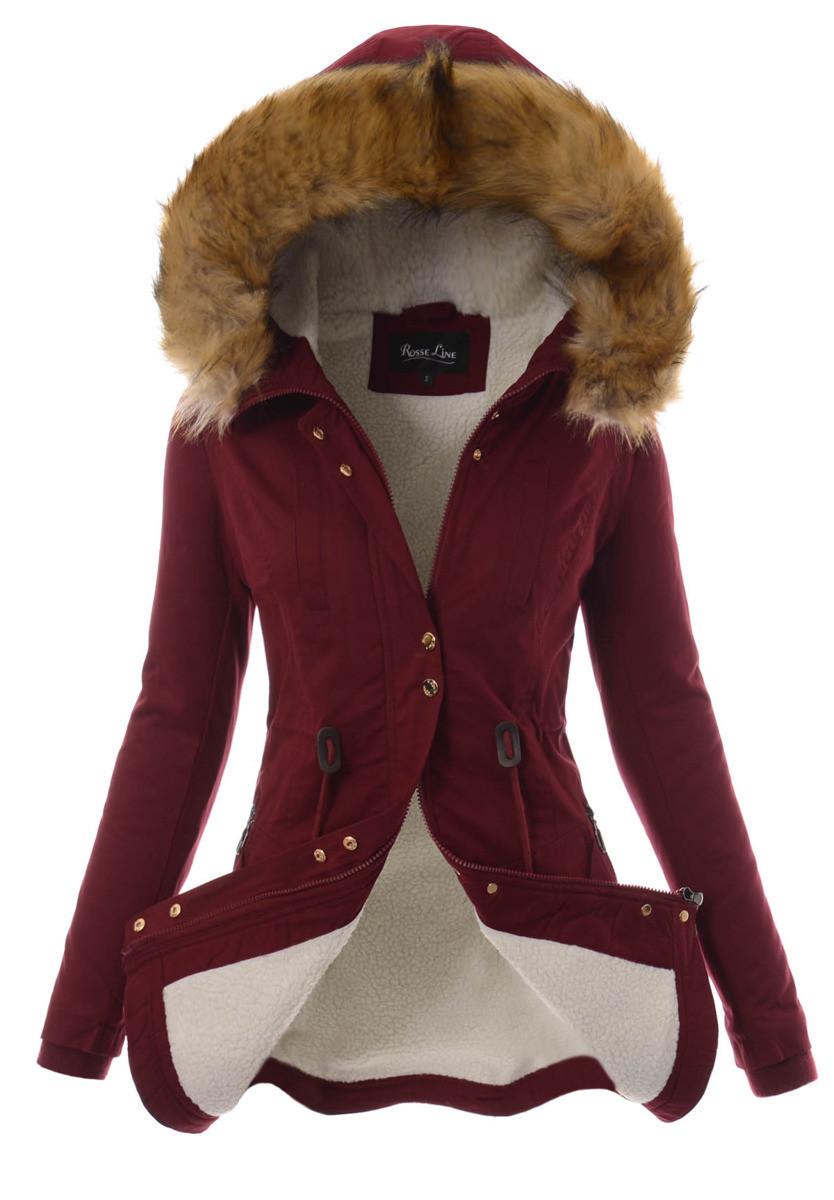 Женская зимняя парка из хлопка  с капюшоном Бордовый