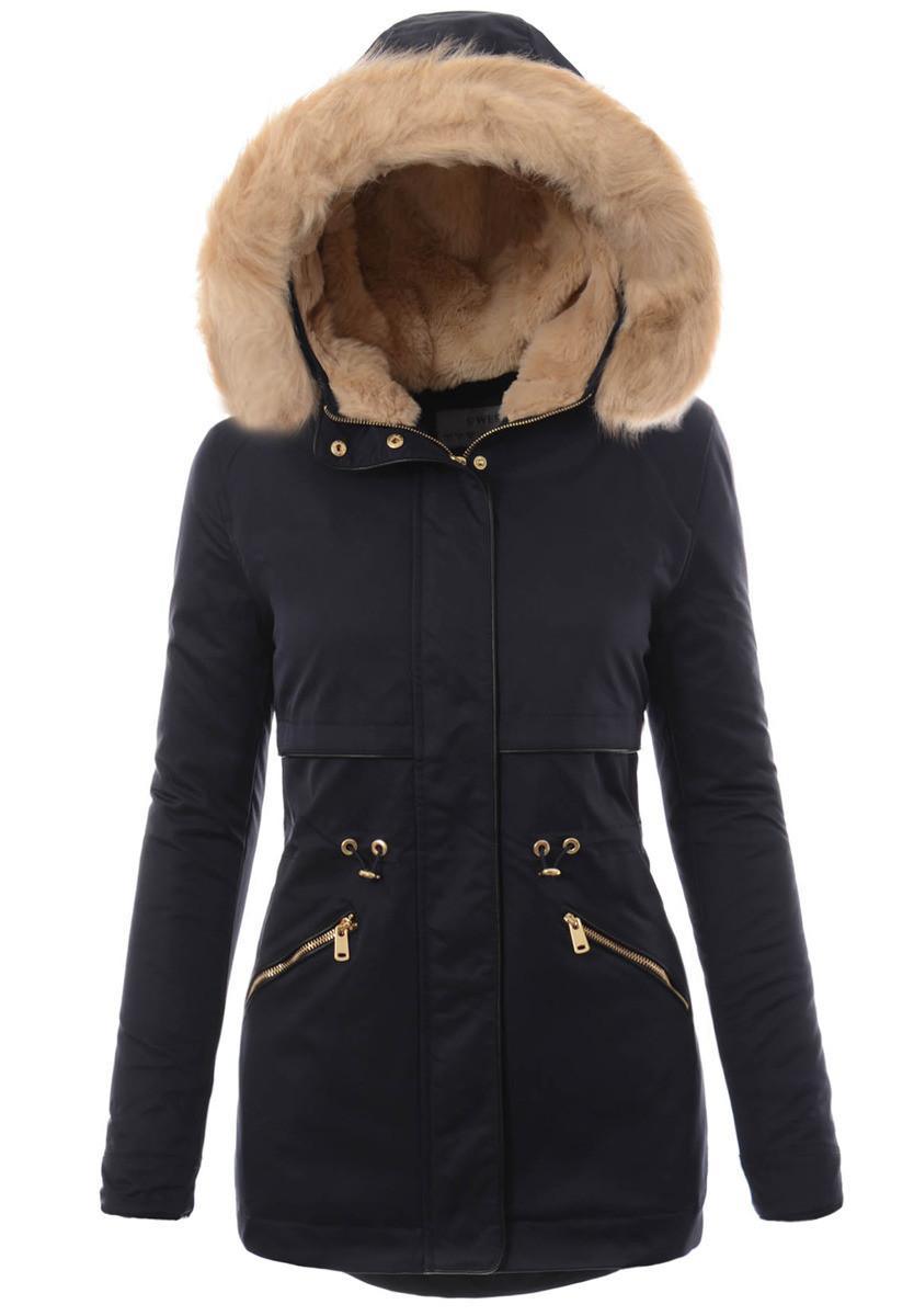 Женская парковая куртка  с капюшоном Синий
