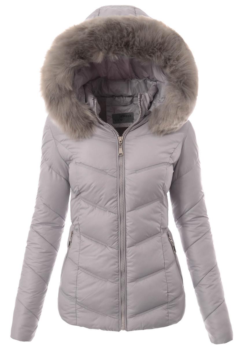 Женская зимняя стёганая куртка  с капюшоном №1 Серый