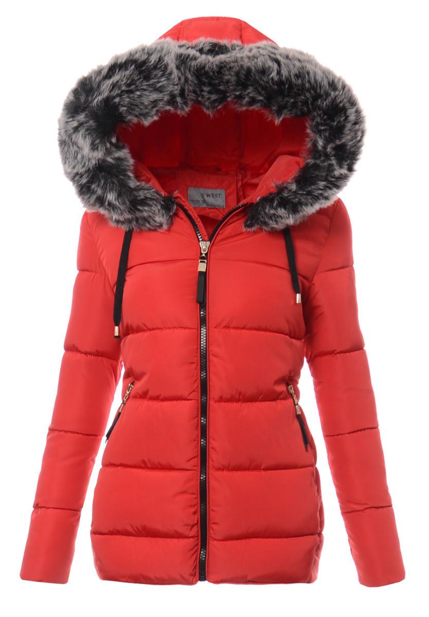 Женская зимняя стёганая куртка  с капюшоном №3 S-6XL Красный
