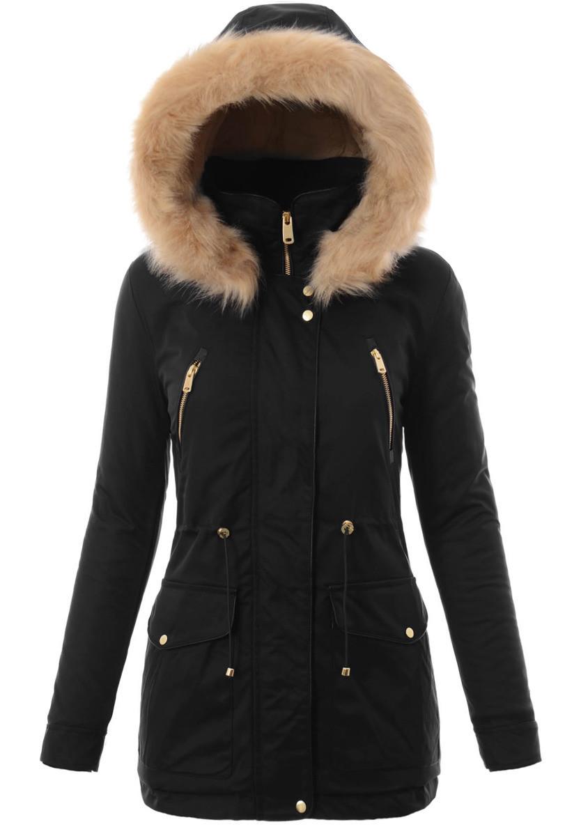Женская парковая куртка  с капюшоном №3 Чёрный