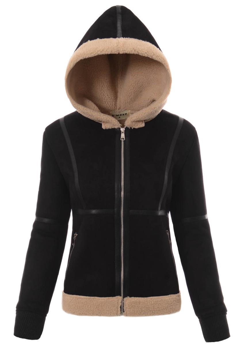 Женская меховая куртка под овчину с капюшоном Чёрный