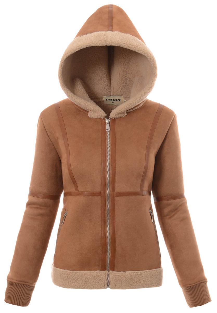Женская меховая куртка под овчину с капюшоном Коричневый