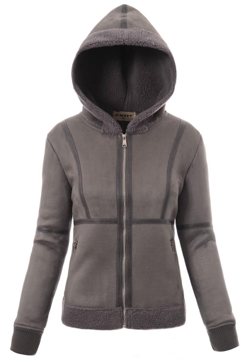 Женская меховая куртка под овчину с капюшоном Серый