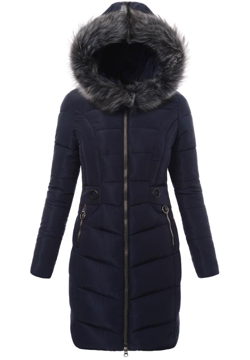 Женское зимнее стёганое пальто  с капюшоном №4 Синий