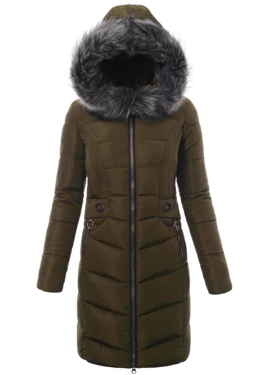 Женское зимнее стёганое пальто  с капюшоном №4 Зелёный