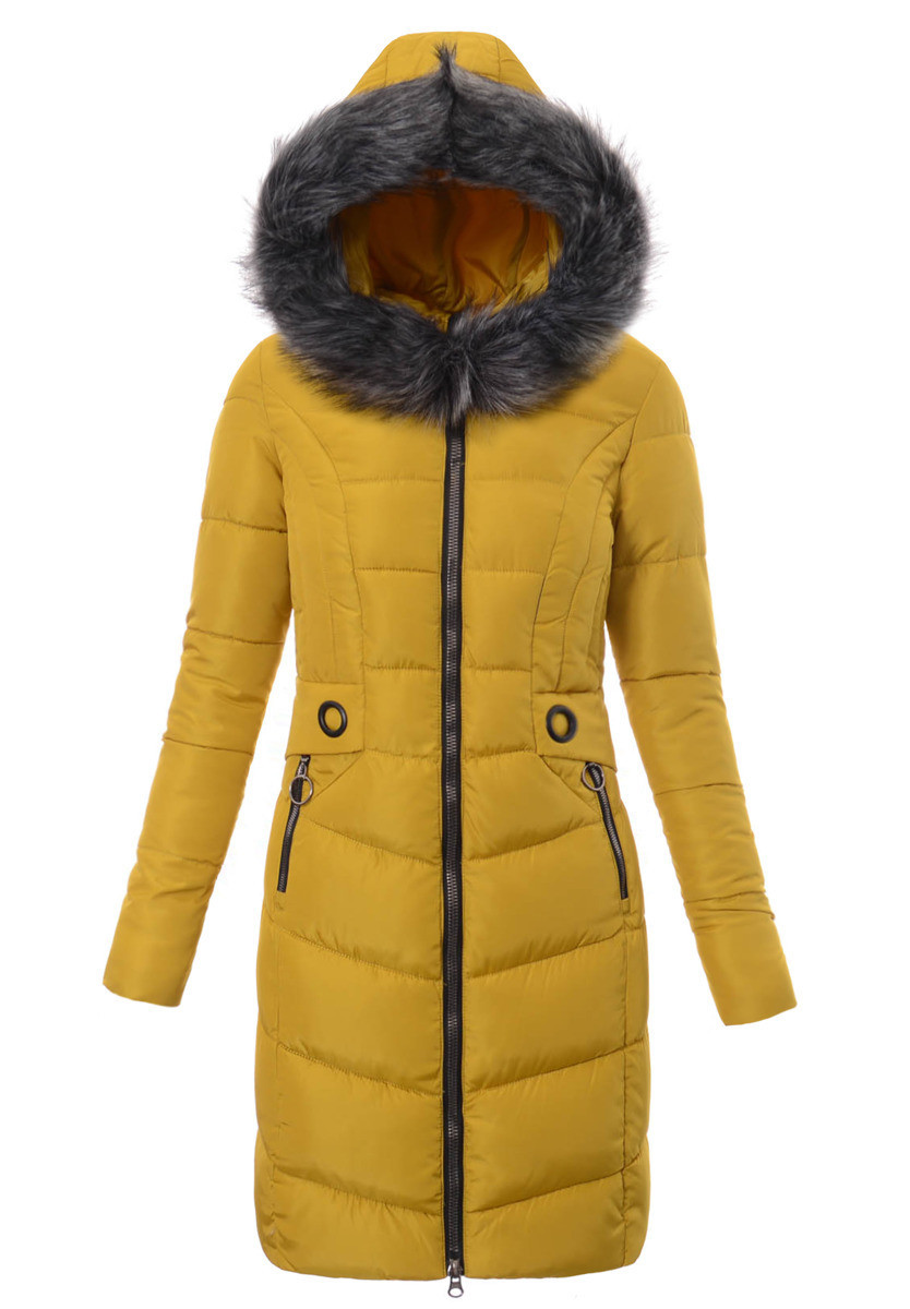 Женское зимнее стёганое пальто  с капюшоном №4 Жёлтый