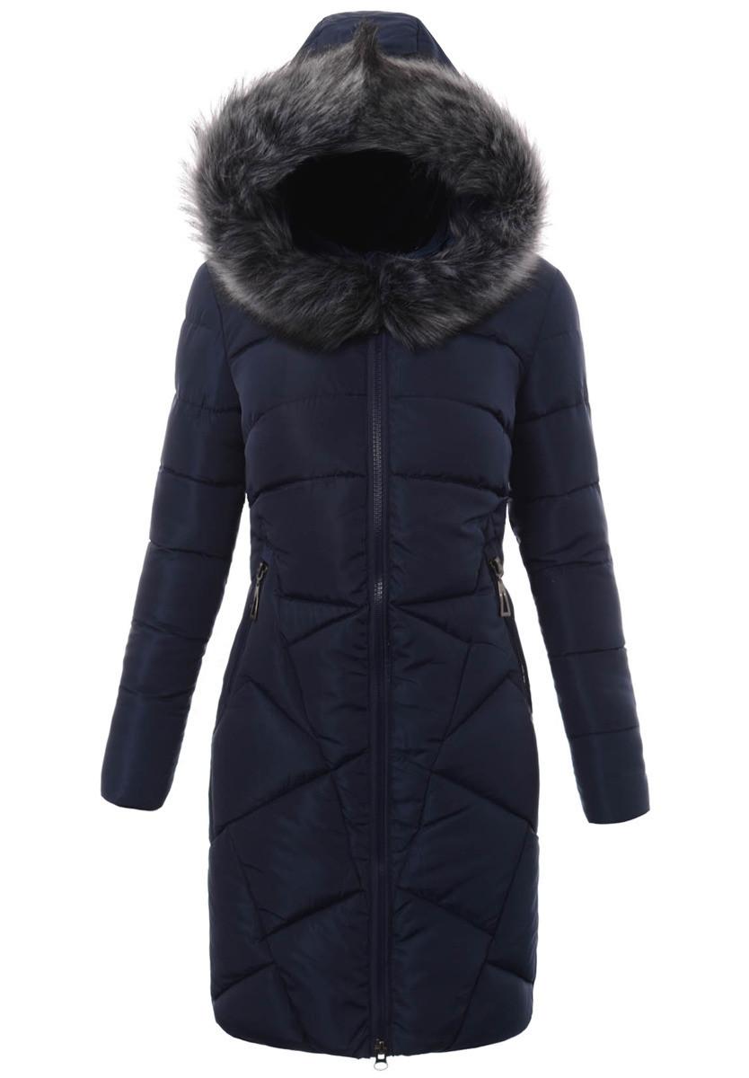 Женское зимнее стёганое пальто  с капюшоном №5 Синий