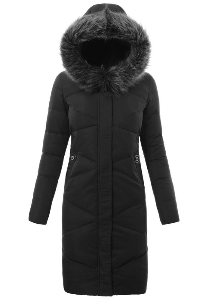 Женское зимнее стёганое пальто  с капюшоном №6 Чёрный