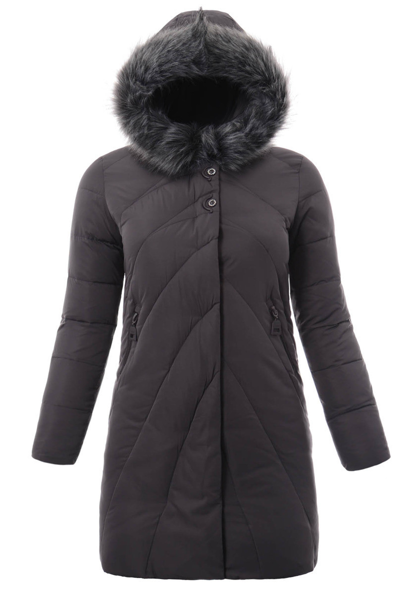 Женское зимнее  пальто  с капюшоном большой размер L-5XL Графит