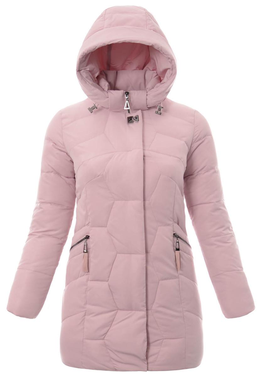 Женское зимнее  пальто  с капюшоном большой размер L-5XL №2 Розовый