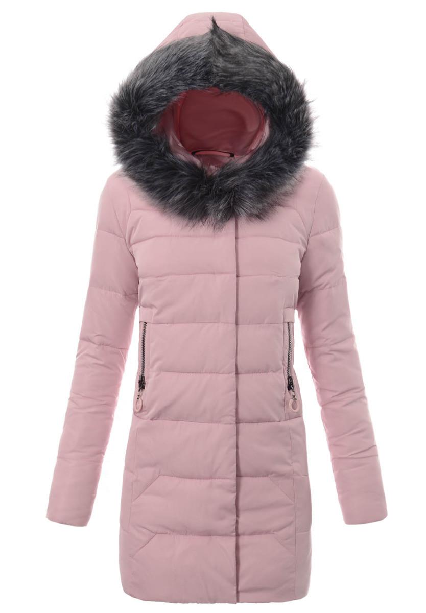 Женское зимнее стёганое пальто  с капюшоном №7 Розовый
