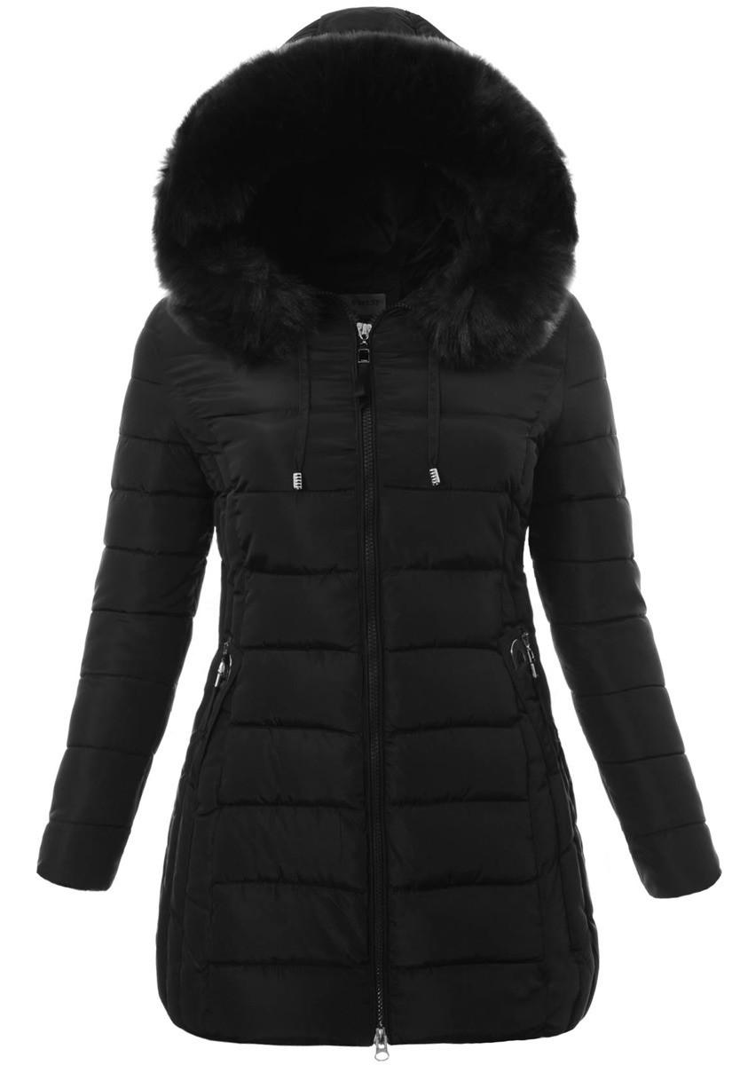 Женское зимнее  пальто  с капюшоном большой размер 3XL-7XL №3 Чёрный