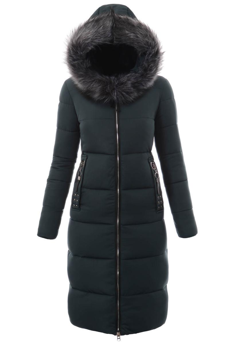 Женское зимнее стёганое пальто  с капюшоном №8 Зелёный