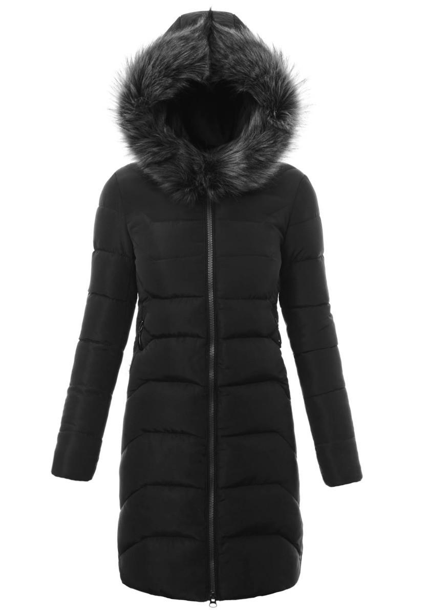 Женское зимнее стёганое пальто  с капюшоном №9 Черный