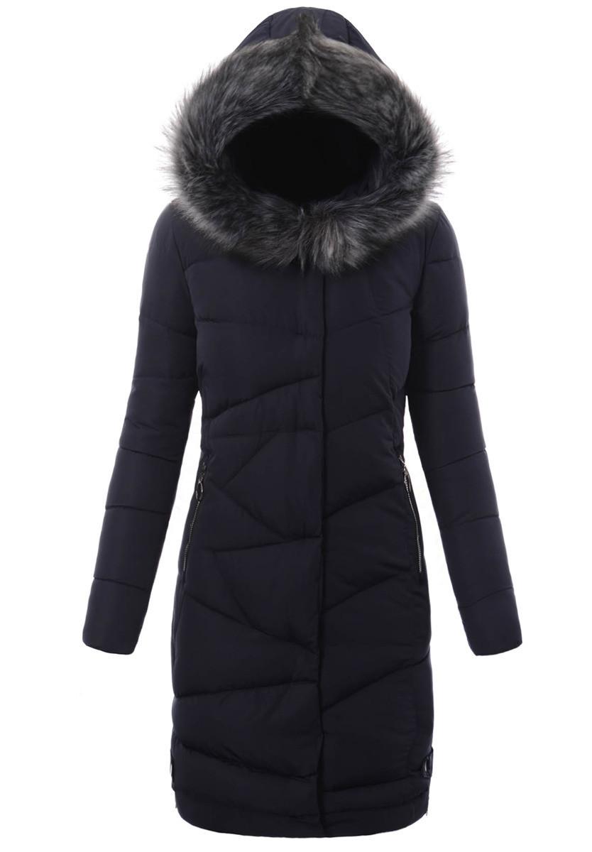 Женское зимнее стёганое пальто  с капюшоном №10 Синий