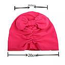 Шапочки  для девочки однотонные тюрбан Розовый, фото 5
