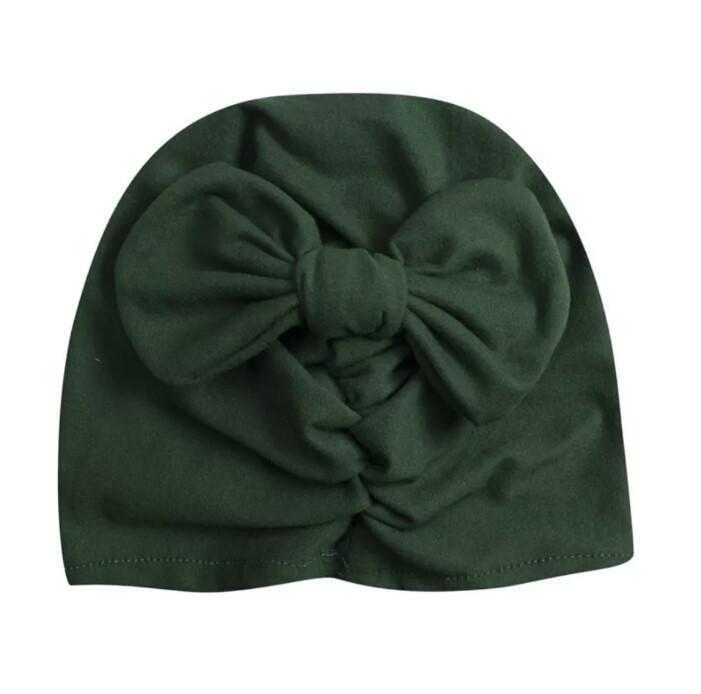 Шапочки  для девочки однотонные тюрбан Зеленый