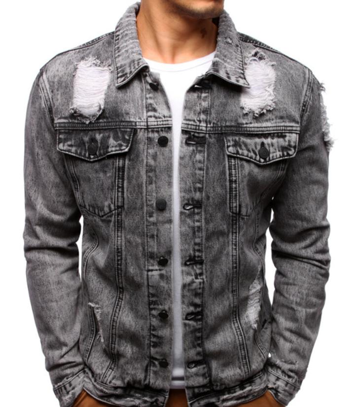 Мужская джинсовая куртка Серый