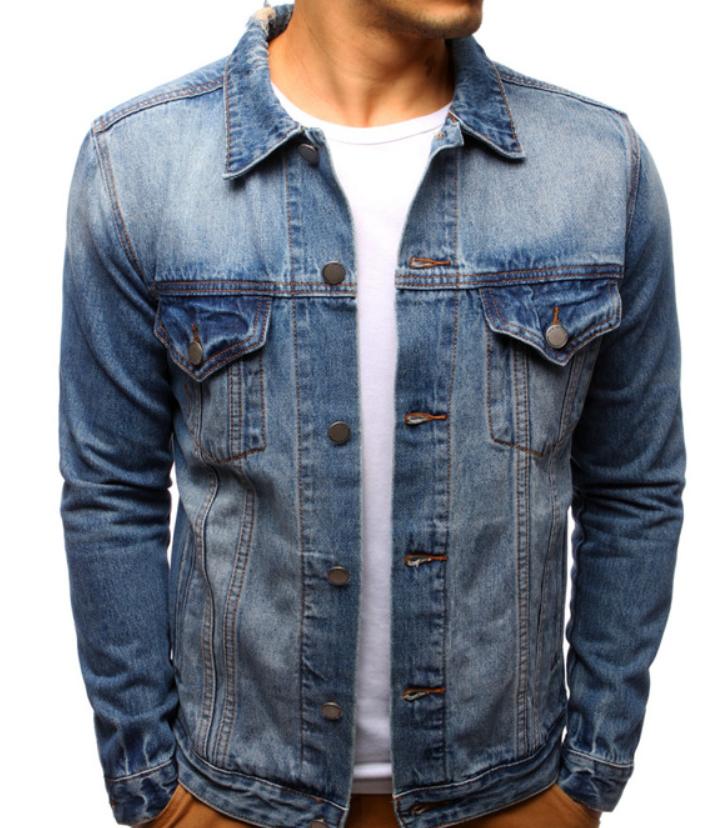 Мужская джинсовая стильная куртка Синий