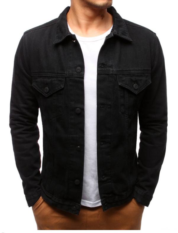 Мужская джинсовая стильная куртка Черный