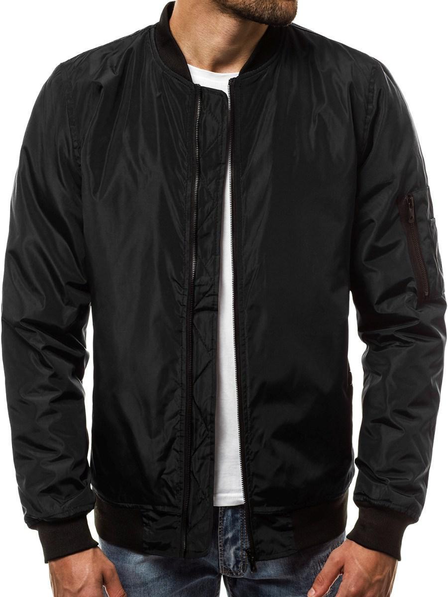 Бомбер мужская демисезонная куртка Черный
