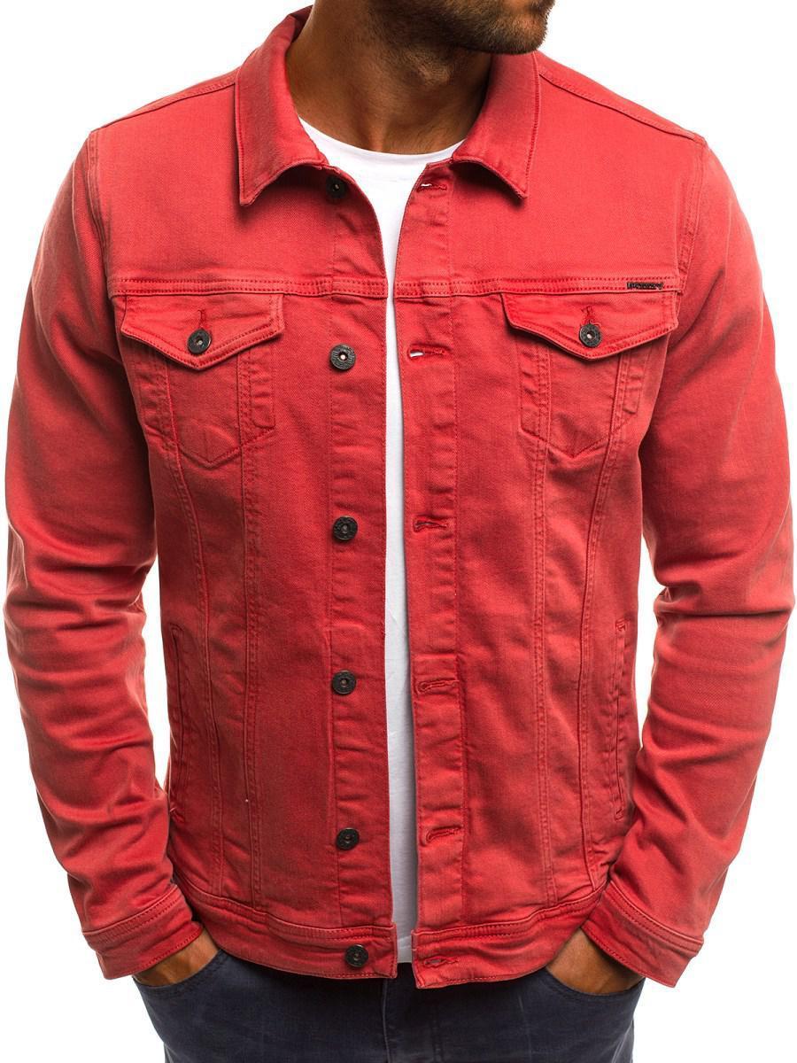 Мужская цветная джинсовая  куртка 6