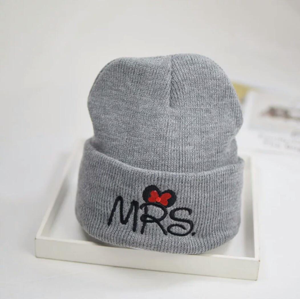 Детская тёплая  шапка  хип-хоп Мини серый