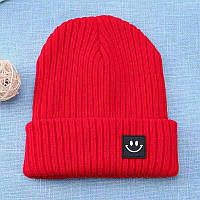 Детская тёплая  шапка  хип-хоп со смайликом Красный