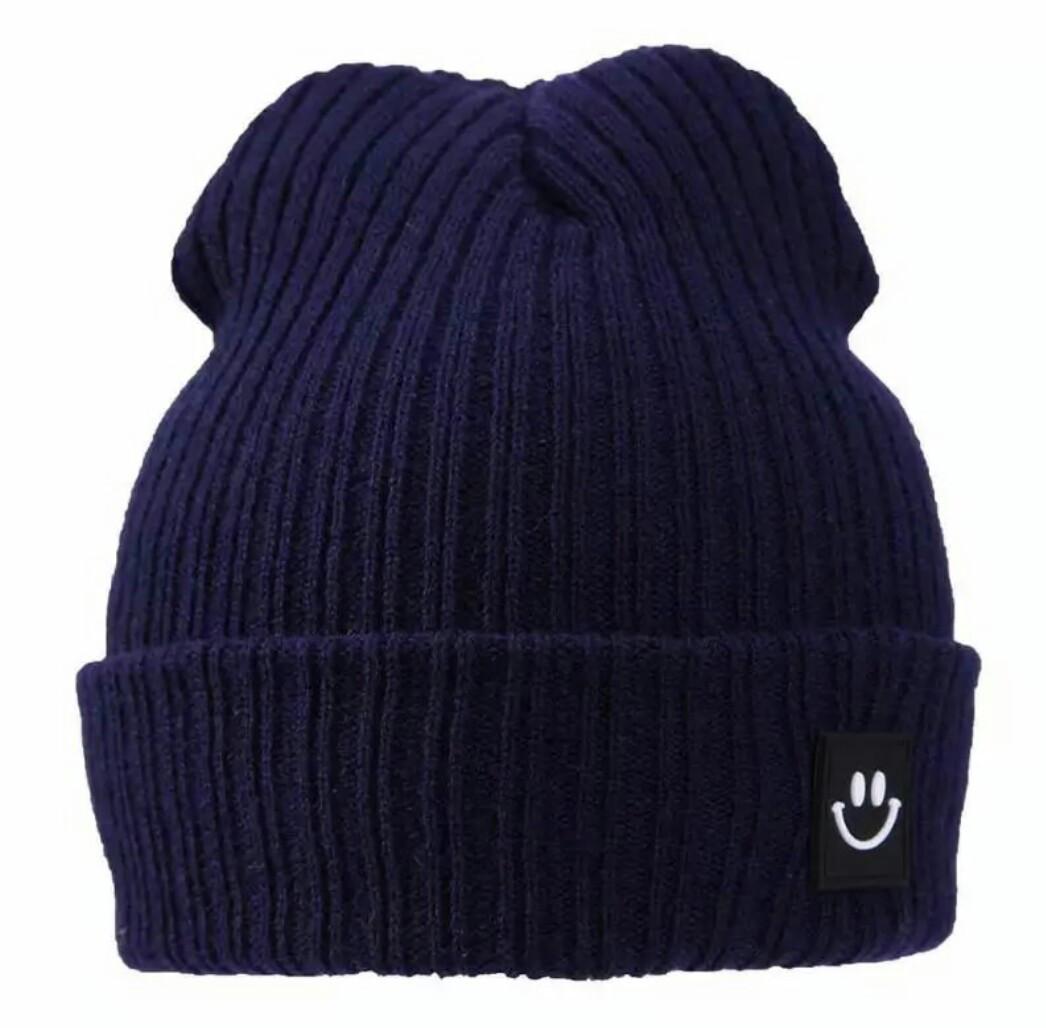 Детская тёплая  шапка  хип-хоп со смайликом Синий