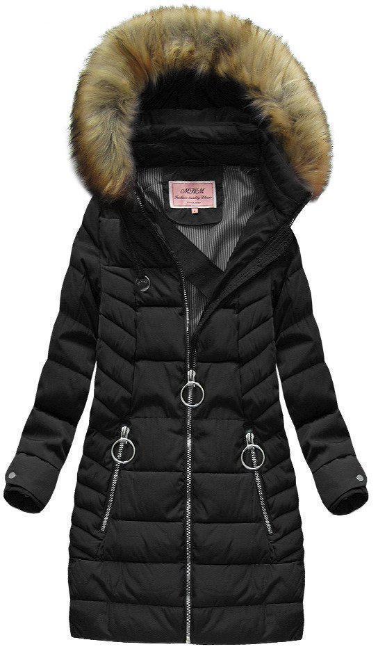 Зимняя стеганая удлиненная  женская куртка  Черный