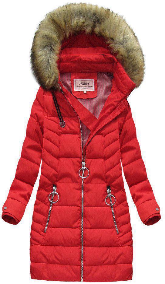 Зимняя стеганая удлиненная  женская куртка  Красный