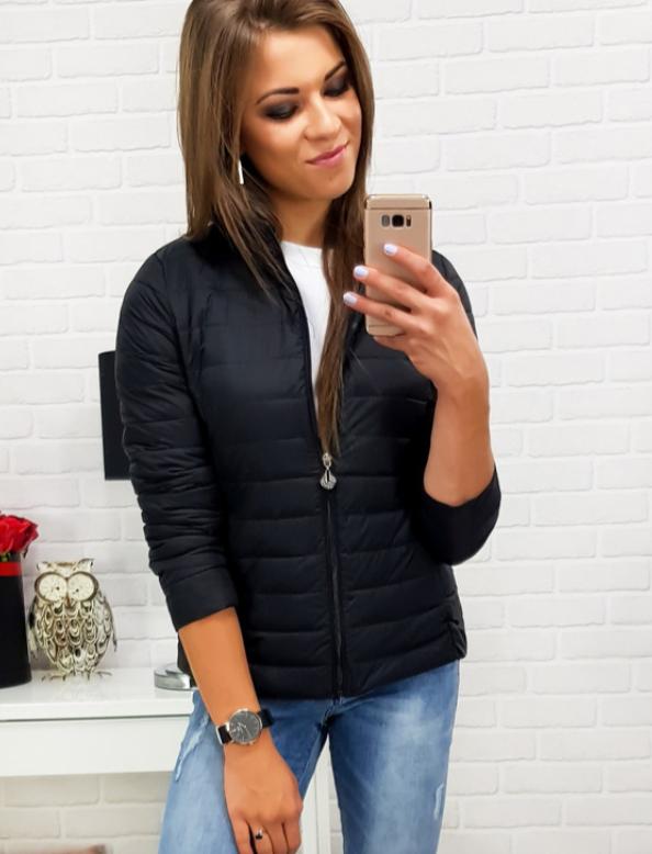 Женская короткая стеганая куртка Черный