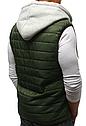 Стёганая мужская безрукавка с капюшоном Хаки, фото 3