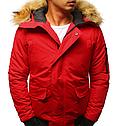 Мужская куртка бомбер зимняя Бордовый, фото 8