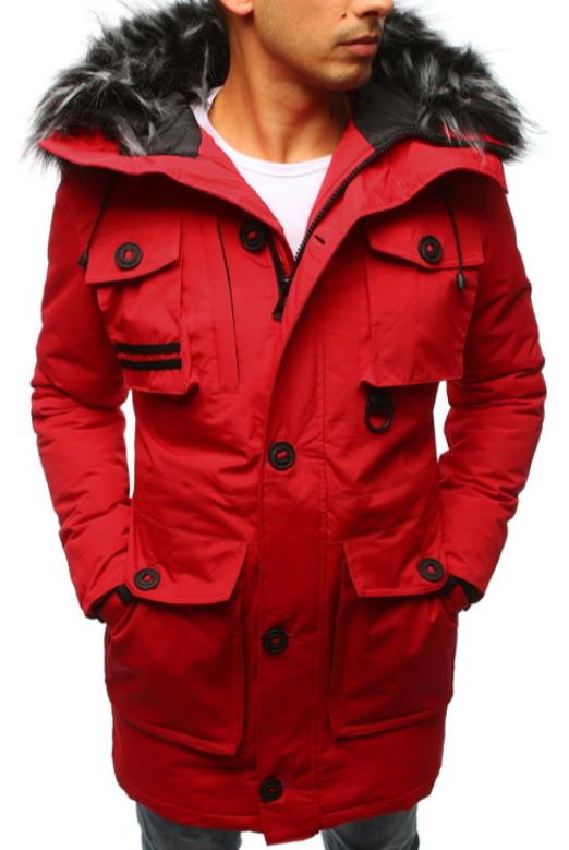 Парка мужская зимняя с пуговицами Красный